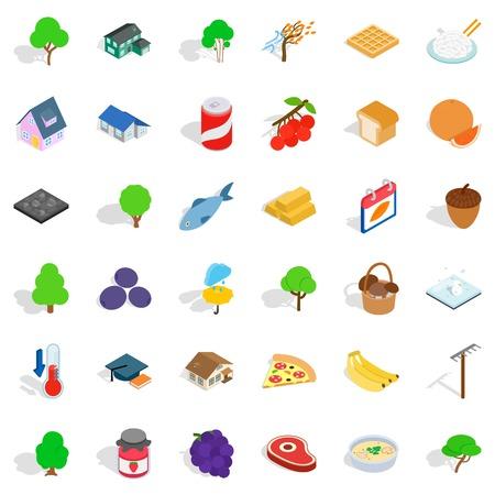 Garden icons set, isometric style Illustration