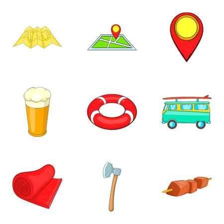 Seaside icons set, cartoon style
