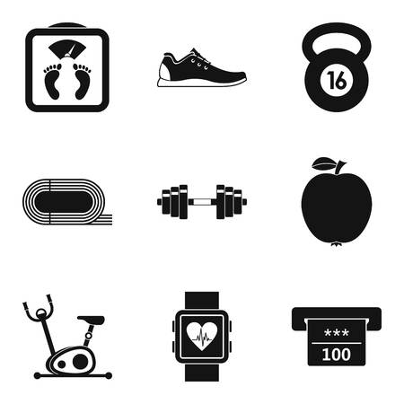 Hall for running icons set, simple style