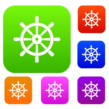 Wooden ship wheel set color collection