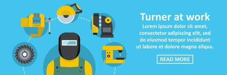 Turner at work banner horizontal concept Illustration