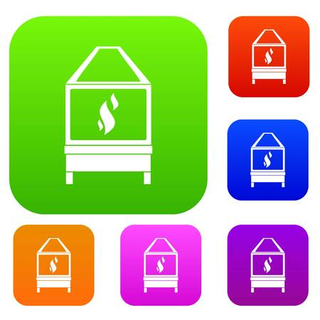 Blacksmith oven with flame fire set icon color in flat style isolated on white. Collection sings vector illustration