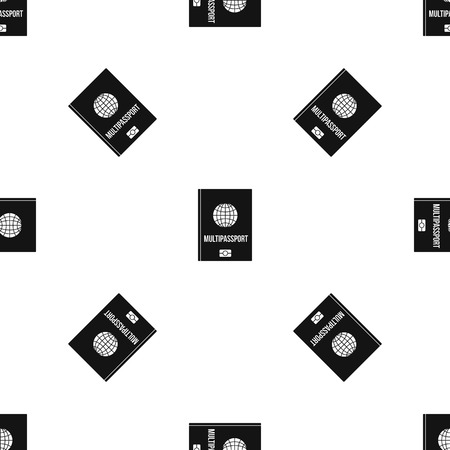 Multipassport pattern repeat seamless in black color for any design. Vector geometric illustration