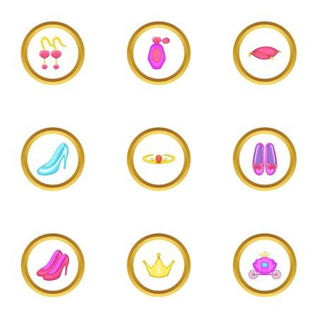 Princess element icons set. Cartoon style set of 9 princess element vector icons for web design Illustration