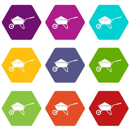 Wheelbarrow loaded with soil icon set many color hexahedron isolated on white vector illustration Illustration