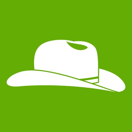 male symbol: Cowboy hat icon white isolated on green background. Vector illustration