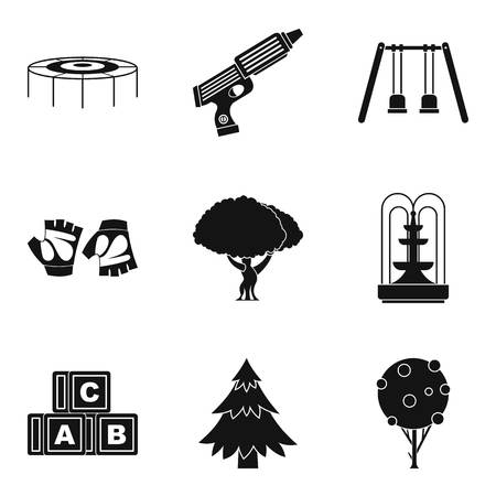 baby toy: Forest park icons set. Simple set of 9 forest park vector icons for web isolated on white background