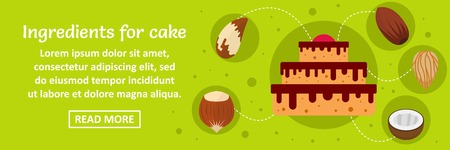 Ingredients for cake banner horizontal concept. Flat illustration of ingredients for cake banner horizontal vector concept for web design