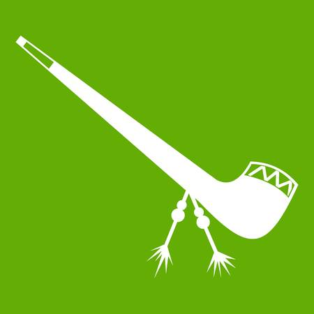Smoking pipe icon white isolated on green background. Vector illustration Illustration