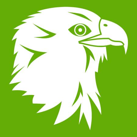 gripping: Eagle icon white isolated on green background. Vector illustration
