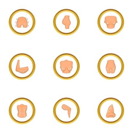 Body plastic surgery icons set. Cartoon style set of 9 body plastic surgery vector icons for web design Illustration