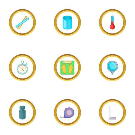 icons set. Cartoon style set of 9 vector icons for web design
