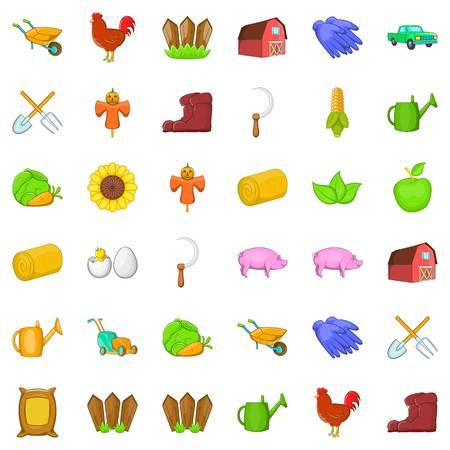 Boot-Symbole festgelegt. Cartoon-Stil von 36 Boot-Vektor-Icons für das Web auf weißem Hintergrund Standard-Bild - 87537631
