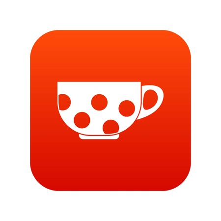 Cup icon digital red for any design isolated on white vector illustration