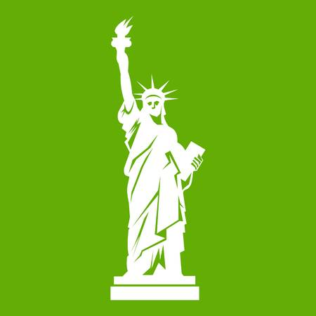Statue of liberty icon white isolated on green background. Vector illustration Illustration