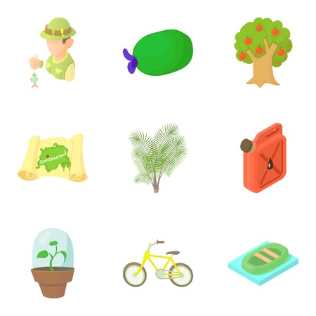 Observing the nature icons set, cartoon style Illustration
