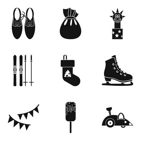 baby toy: Winter amusement icons set, simple style