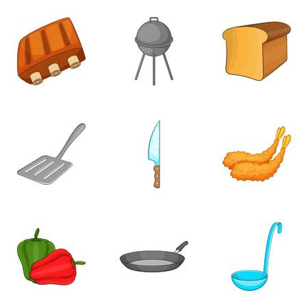 Grilled food icons set, cartoon style