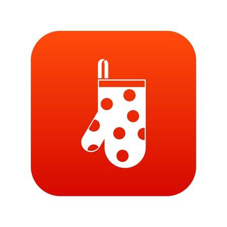 Kitchen glove icon digital red
