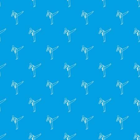 Wushu master pattern seamless blue