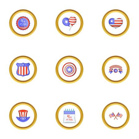 American independence day icons set, cartoon style Illustration