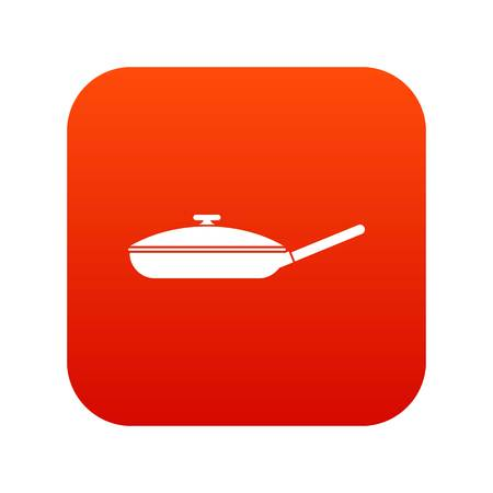 Black frying pan icon digital red