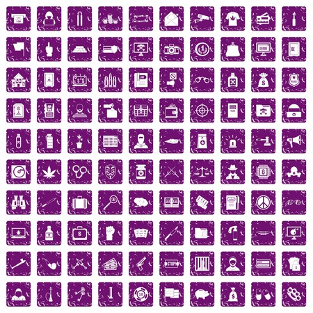 100 criminal offence icons set in grunge style purple color isolated on white background vector illustration