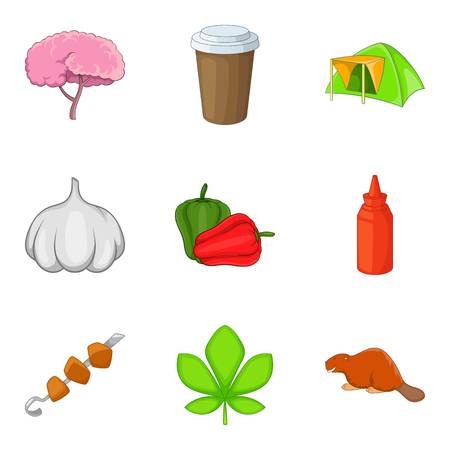 Forest camping icons set, cartoon style