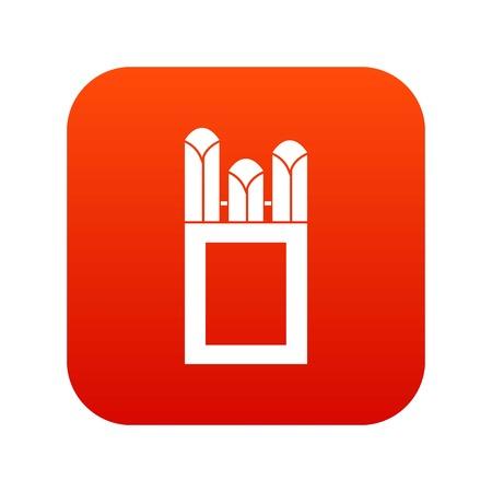 art piece: Chalks in carton box icon digital red Illustration