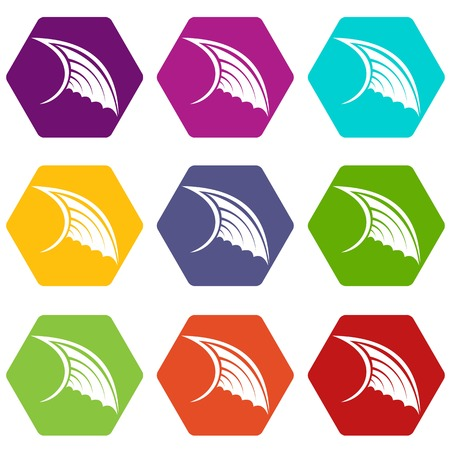 Wing icon set color hexahedron Illustration