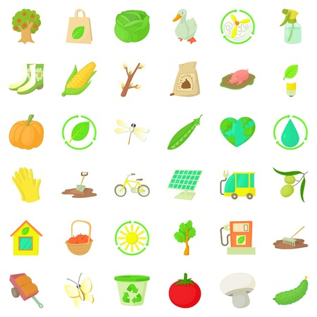 Material icons set, cartoon style