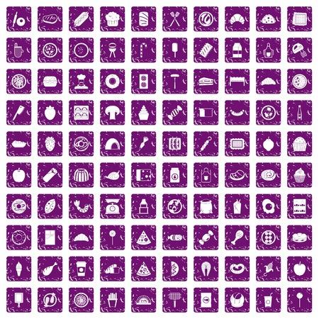 100 heerlijke die schotelspictogrammen in de purpere die kleur van de grungestijl worden geplaatst op witte vectorillustratie wordt geïsoleerd als achtergrond