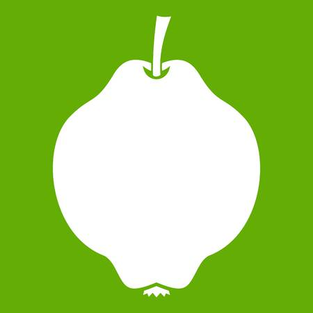 Quince fruit icon white isolated on green background. Vector illustration Illustration