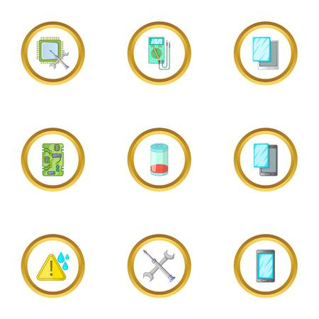 cellphone icon: Phone diagnostics icons set. Cartoon style set of 9 phone diagnostics vector icons for web design
