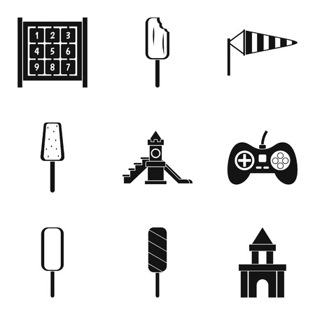 baby toy: Game in the yard icons set. Simple set of 9 game in the yard vector icons for web isolated on white background