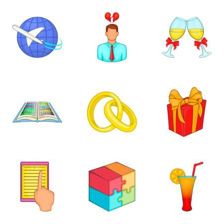 Responsibility icons set, cartoon style