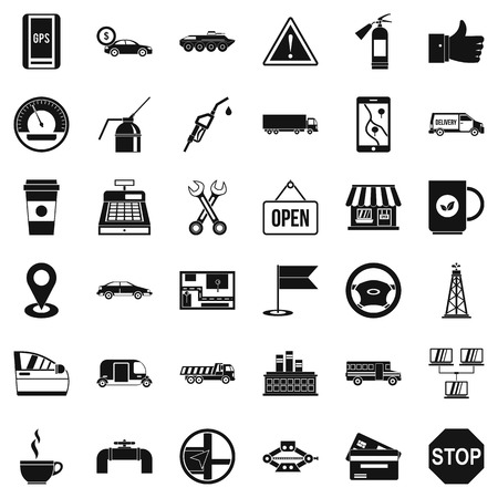 oil and gas industry: Gas station icons set, simple style