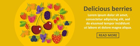mobile marketing: Delicious berries banner horizontal concept Illustration