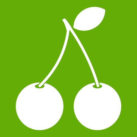 glace: Two ripe cherry berries icon white isolated on green background. Vector illustration Illustration