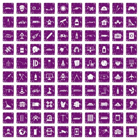 schemes: 100 development icons set in grunge style purple color isolated on white background vector illustration