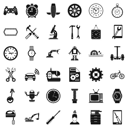Mechanic icons set. Simple style of 36 mechanic vector icons for web isolated on white background Illustration