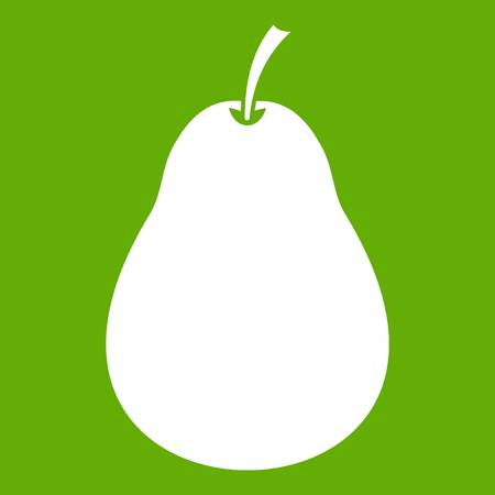 Pear icon white isolated on green background. Vector illustration