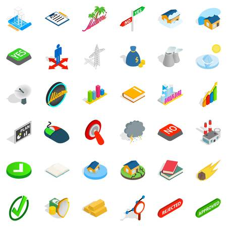 Nice emblem icons set. Isometric style of 36 nice emblem vector icons for web isolated on white background