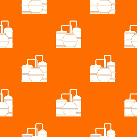 Gas storage tanks pattern repeat seamless in orange color for any design. Vector geometric illustration Illustration