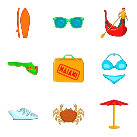 Miami icons set. Cartoon set of 9 miami vector icons for web isolated on white background