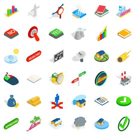 Tower icons set, isometric style Illustration