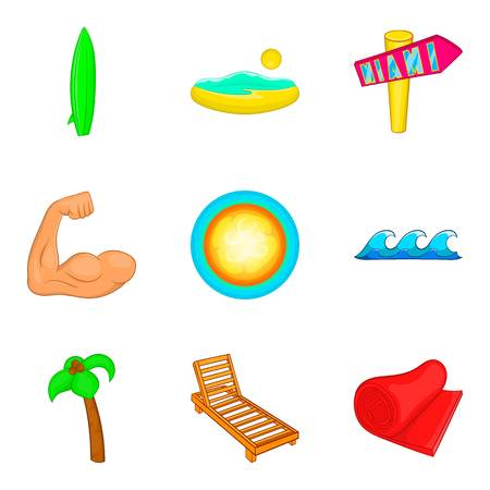 Sunbathe on the beach icons set, cartoon style Illustration