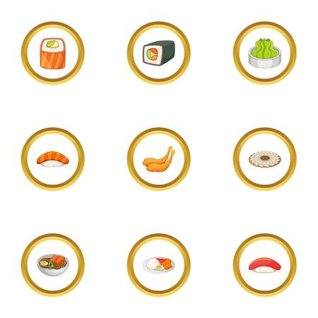 Traditional japan meal icons set, cartoon style