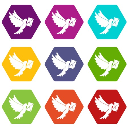 Dove carrying envelope icon set color hexahedron