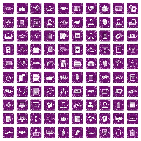 schemes: 100 discussion icons set in grunge style purple color isolated on white background vector illustration